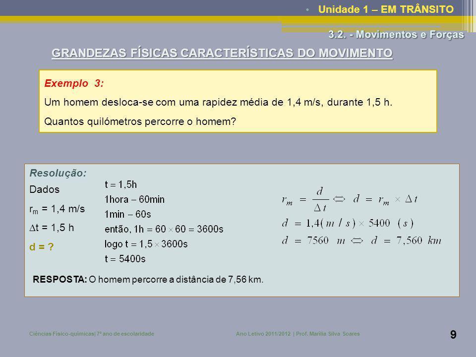 • Unidade 1 – EM TRÂNSITO Ciências Físico-químicas| 7º ano de escolaridadeAno Letivo 2011/2012 | Prof. Marília Silva Soares 9 Exemplo 3: Um homem desl