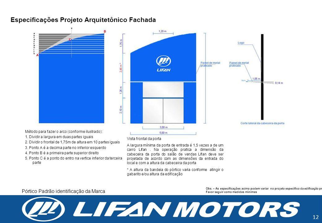 Especificações Projeto Arquitetônico Fachada Obs. – As especificações acima podem variar no projeto específico da edificação proposta. Favor seguir co