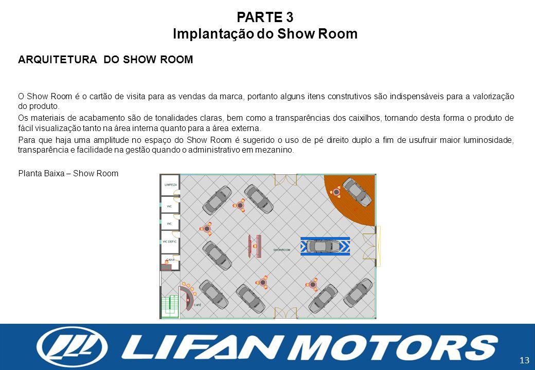 PARTE 3 Implantação do Show Room ARQUITETURA DO SHOW ROOM O Show Room é o cartão de visita para as vendas da marca, portanto alguns itens construtivos