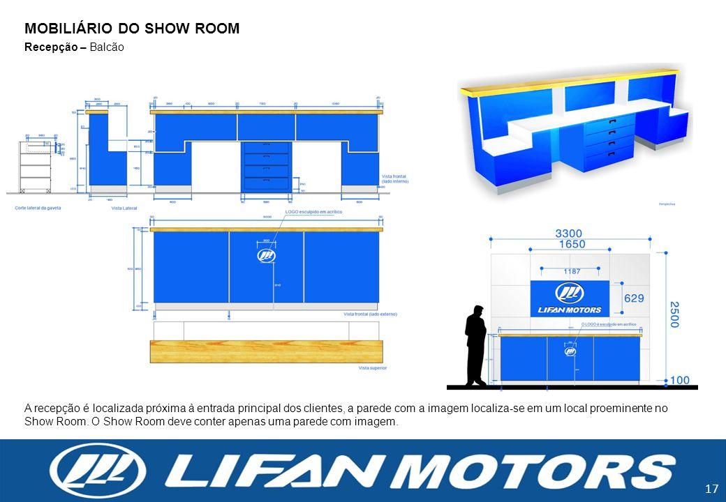17 Recepção – Balcão A recepção é localizada próxima à entrada principal dos clientes, a parede com a imagem localiza-se em um local proeminente no Sh