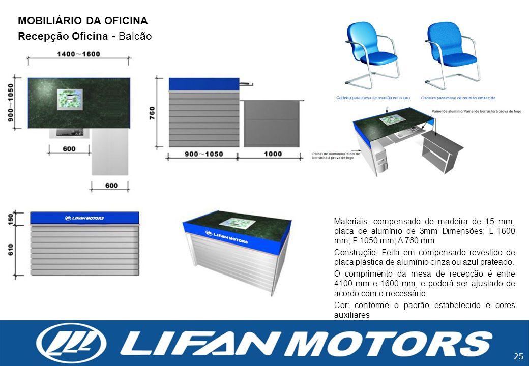 25 Recepção Oficina - Balcão Materiais: compensado de madeira de 15 mm, placa de alumínio de 3mm Dimensões: L 1600 mm; F 1050 mm; A 760 mm Construção: