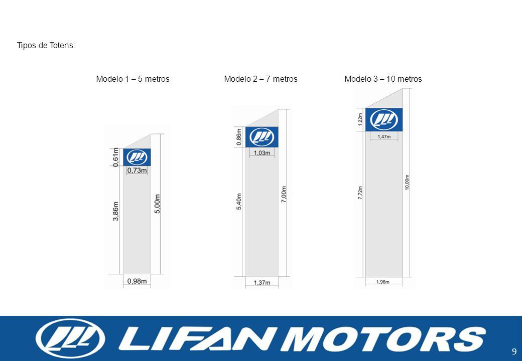 9 Tipos de Totens: Modelo 1 – 5 metrosModelo 2 – 7 metrosModelo 3 – 10 metros