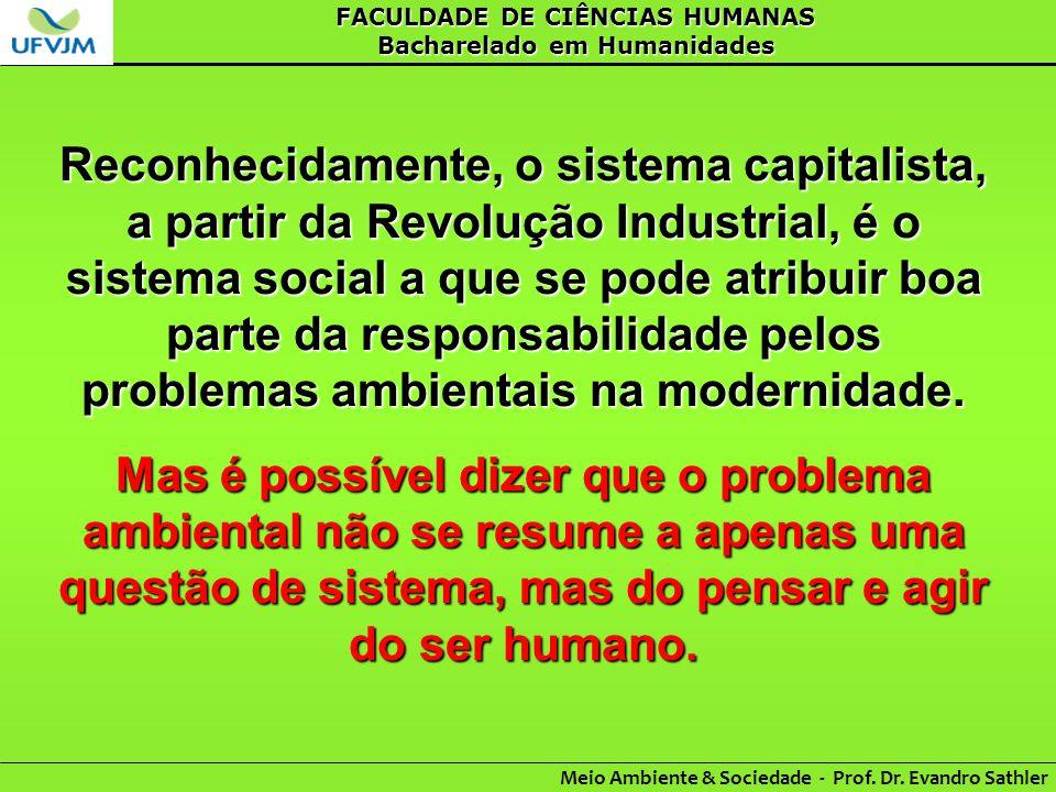 FACULDADE DE CIÊNCIAS HUMANAS Bacharelado em Humanidades Meio Ambiente & Sociedade - Prof. Dr. Evandro Sathler Reconhecidamente, o sistema capitalista
