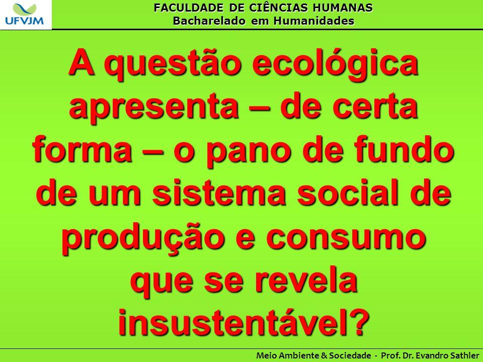 FACULDADE DE CIÊNCIAS HUMANAS Bacharelado em Humanidades Meio Ambiente & Sociedade - Prof. Dr. Evandro Sathler A questão ecológica apresenta – de cert