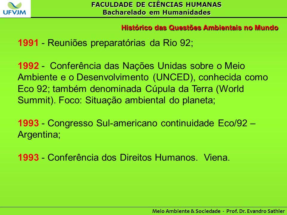 FACULDADE DE CIÊNCIAS HUMANAS Bacharelado em Humanidades Meio Ambiente & Sociedade - Prof. Dr. Evandro Sathler Histórico das Questões Ambientais no Mu