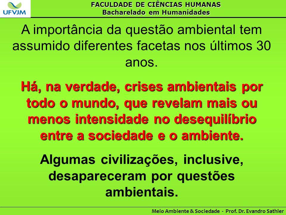 FACULDADE DE CIÊNCIAS HUMANAS Bacharelado em Humanidades Meio Ambiente & Sociedade - Prof. Dr. Evandro Sathler A importância da questão ambiental tem