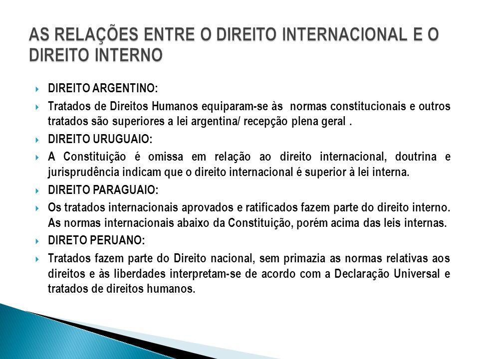  DIREITO ARGENTINO:  Tratados de Direitos Humanos equiparam-se às normas constitucionais e outros tratados são superiores a lei argentina/ recepção