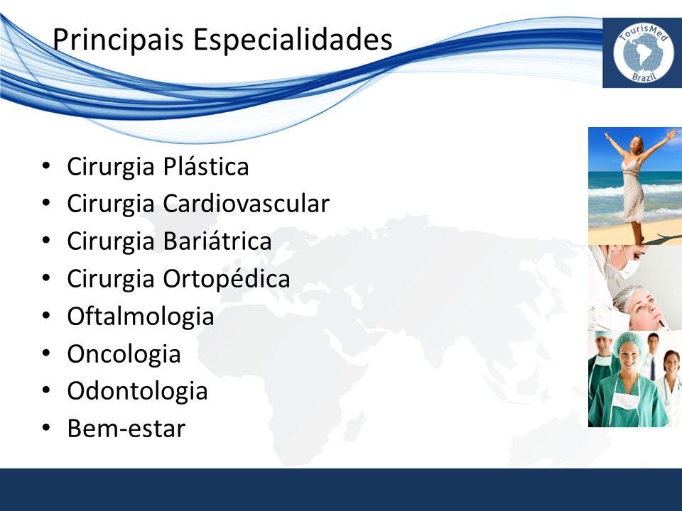 Principais Especialidades • Cirurgia Plástica • Cirurgia Cardiovascular • Cirurgia Bariátrica • Cirurgia Ortopédica • Oftalmologia • Oncologia • Odont