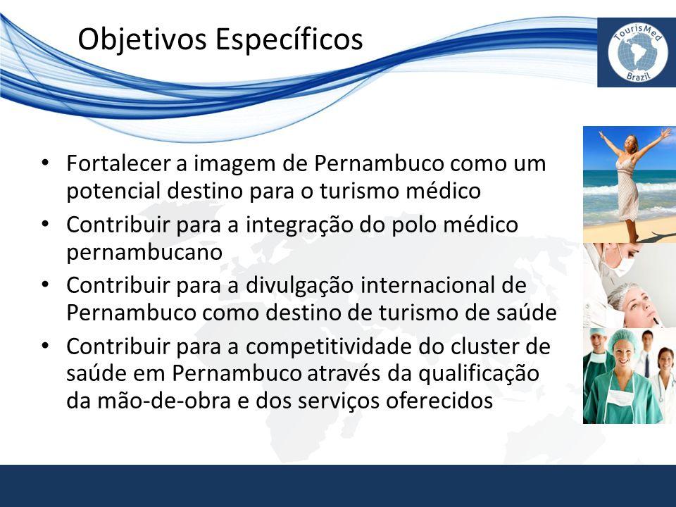 Objetivos Específicos • Fortalecer a imagem de Pernambuco como um potencial destino para o turismo médico • Contribuir para a integração do polo médic