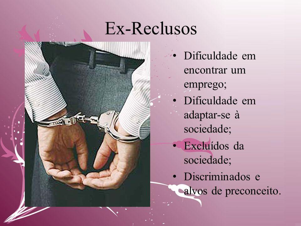 Ex-Reclusos • Dificuldade em encontrar um emprego; • Dificuldade em adaptar-se à sociedade; • Excluídos da sociedade; • Discriminados e alvos de preconceito.