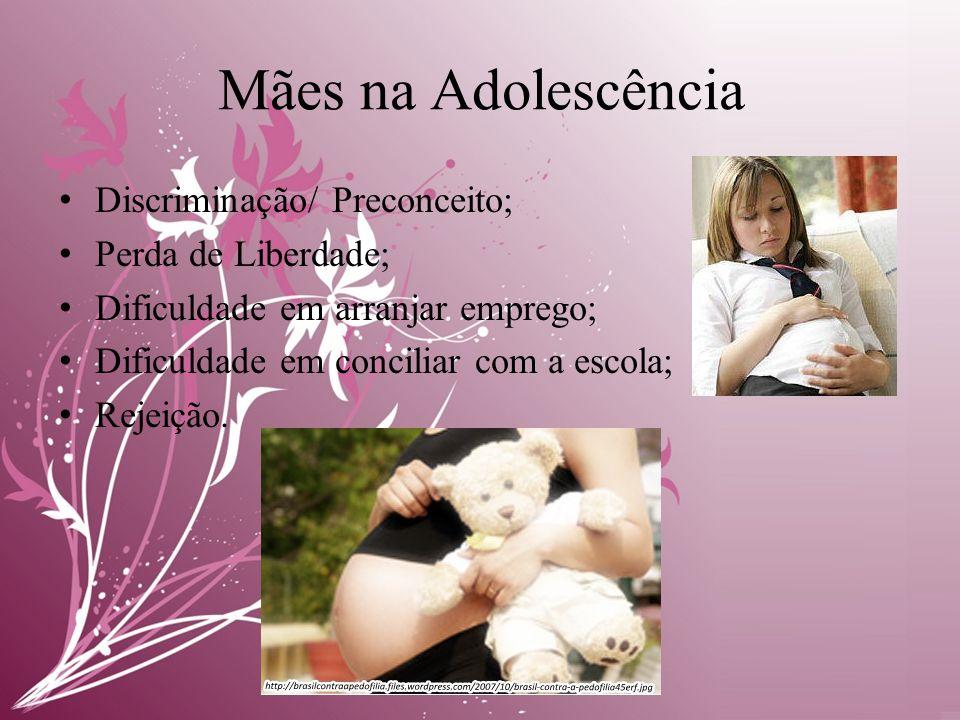 Mães na Adolescência • Discriminação/ Preconceito; • Perda de Liberdade; • Dificuldade em arranjar emprego; • Dificuldade em conciliar com a escola; • Rejeição.