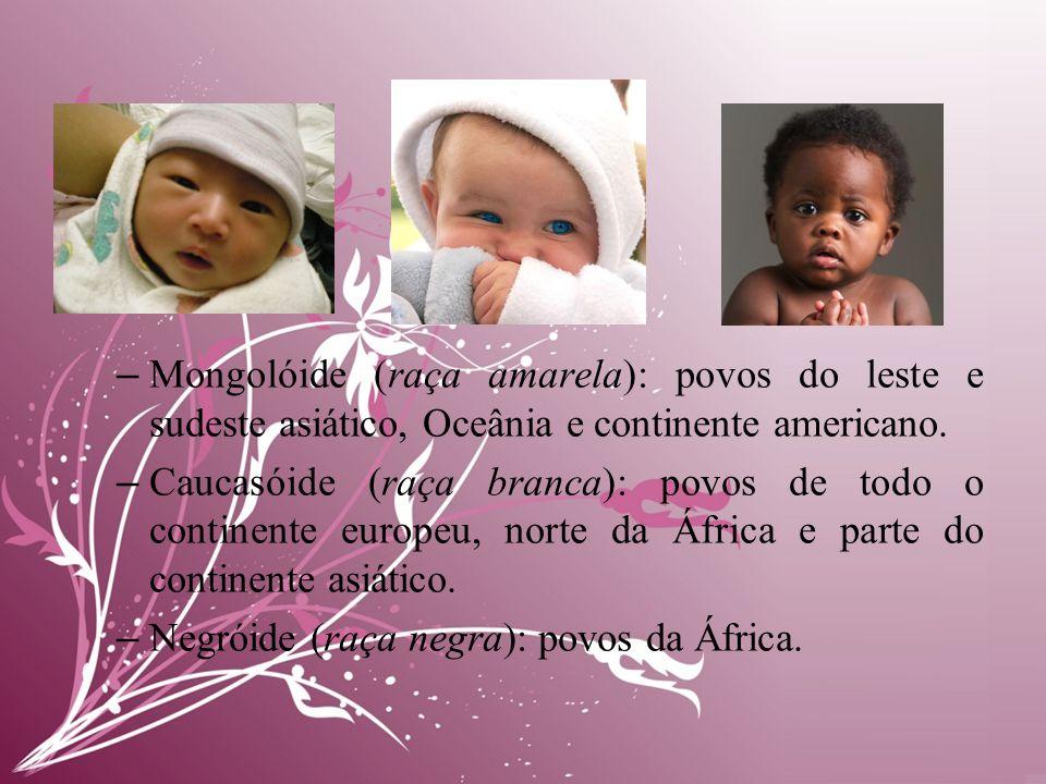 – Mongolóide (raça amarela): povos do leste e sudeste asiático, Oceânia e continente americano.