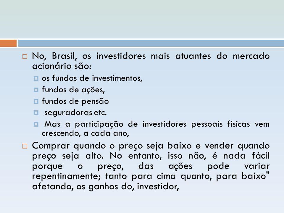  No, Brasil, os investidores mais atuantes do mercado acionário são:  os fundos de investimentos,  fundos de ações,  fundos de pensão  seguradora
