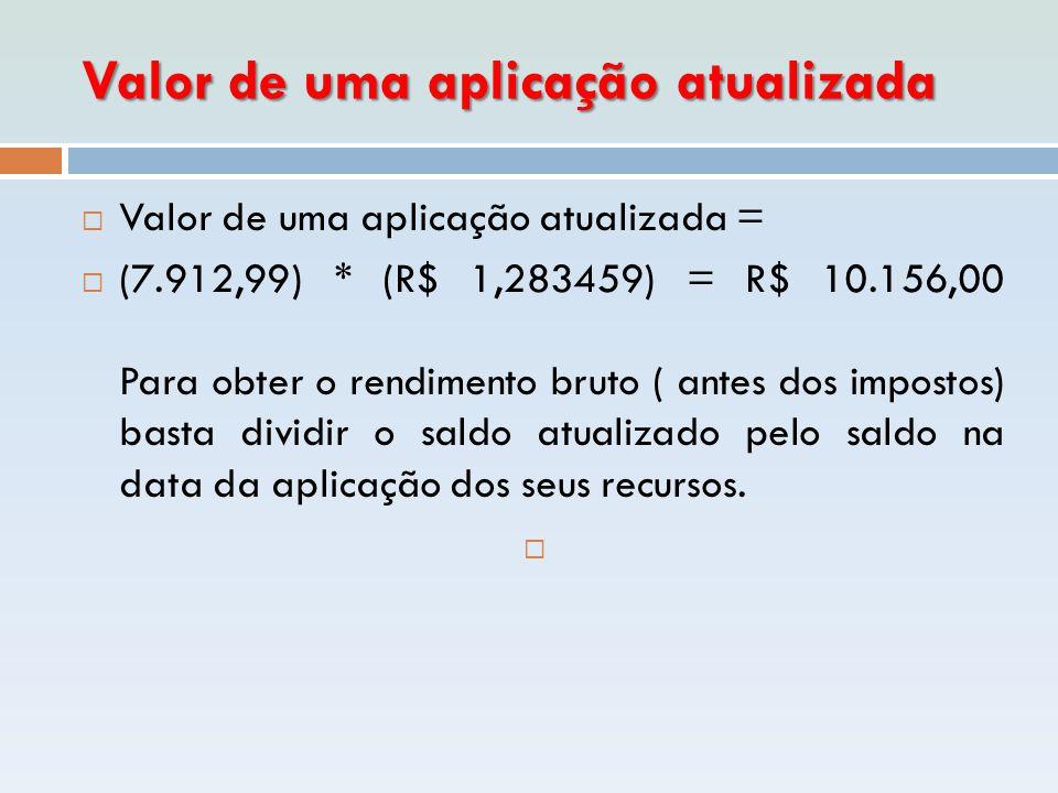 Valor de uma aplicação atualizada  Valor de uma aplicação atualizada =  (7.912,99) * (R$ 1,283459) = R$ 10.156,00 Para obter o rendimento bruto ( an
