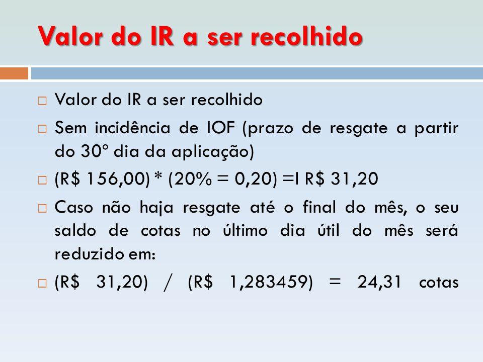 Valor do IR a ser recolhido  Valor do IR a ser recolhido  Sem incidência de IOF (prazo de resgate a partir do 30º dia da aplicação)  (R$ 156,00) *