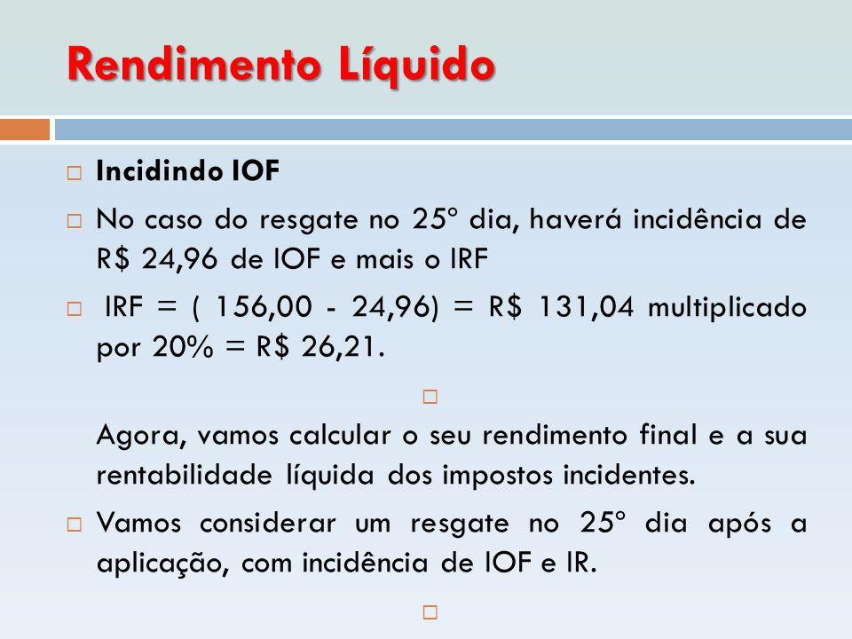 Rendimento Líquido  Incidindo IOF  No caso do resgate no 25º dia, haverá incidência de R$ 24,96 de IOF e mais o IRF  IRF = ( 156,00 - 24,96) = R$ 1