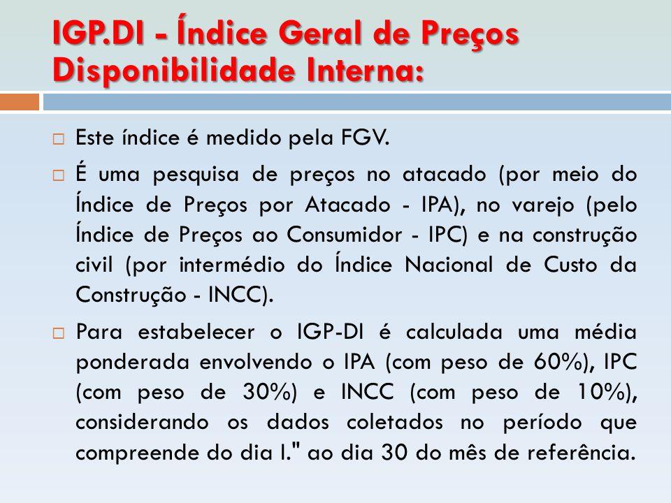 IGP.DI - Índice Geral de Preços Disponibilidade Interna:  Este índice é medido pela FGV.  É uma pesquisa de preços no atacado (por meio do Índice de