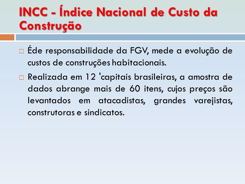 INCC - Índice Nacional de Custo da Construção  Éde responsabilidade da FGV, mede a evolução de custos de construções habitacionais.  Realizada em 12