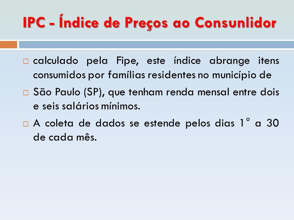 IPC - Índice de Preços ao Consunlidor  calculado pela Fipe, este índice abrange itens consumidos por famílias residentes no município de  São Paulo