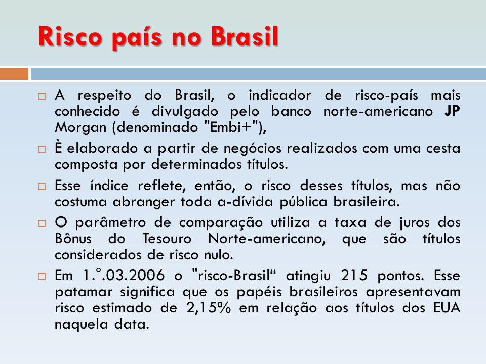 Risco país no Brasil  A respeito do Brasil, o indicador de risco-país mais conhecido é divulgado pelo banco norte-americano JP Morgan (denominado