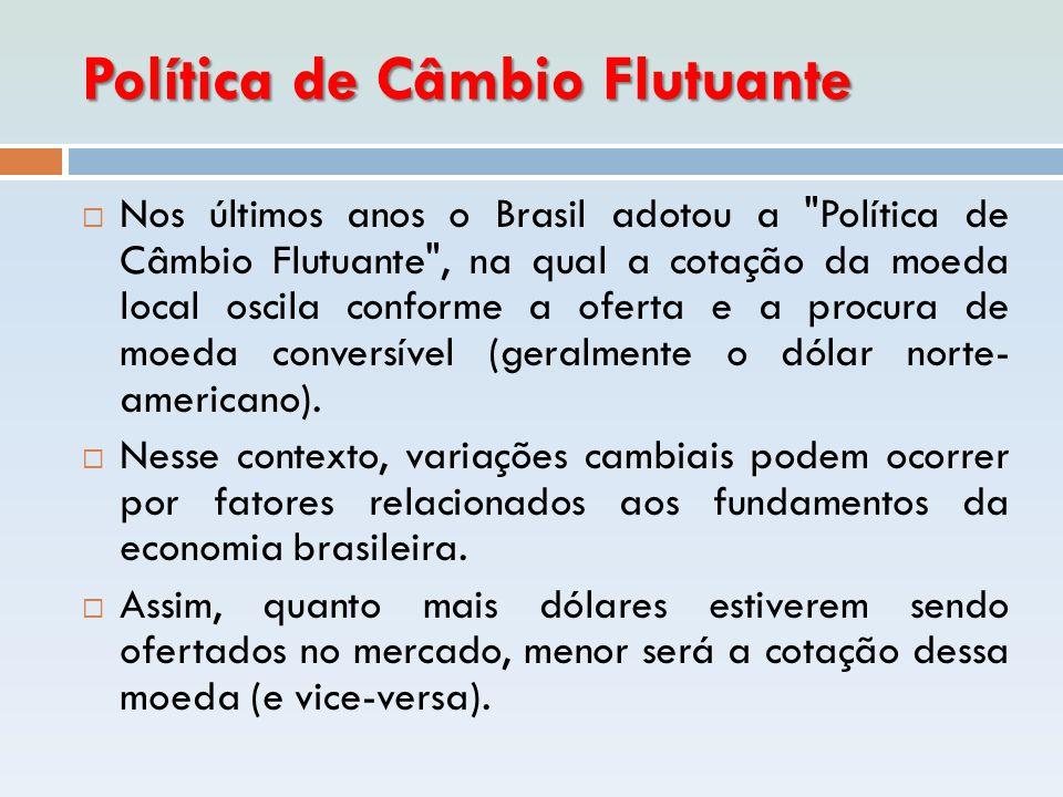 Política de Câmbio Flutuante  Nos últimos anos o Brasil adotou a