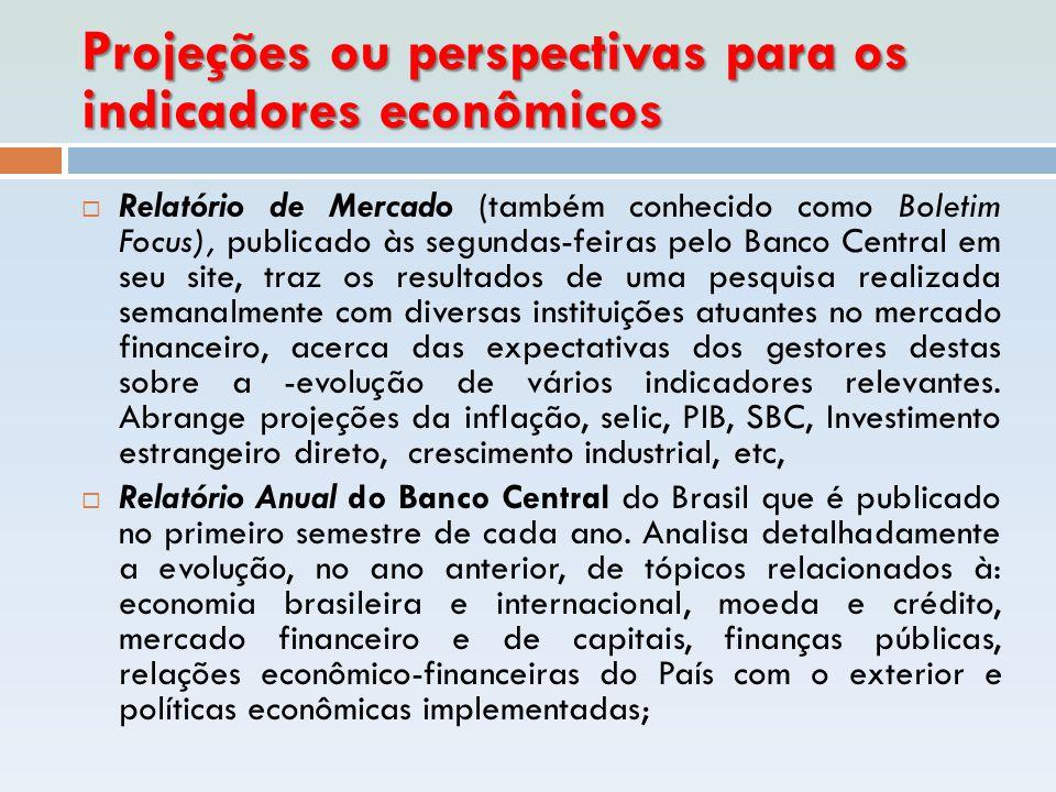 Projeções ou perspectivas para os indicadores econômicos  Relatório de Mercado (também conhecido como Boletim Focus), publicado às segundas-feiras pe