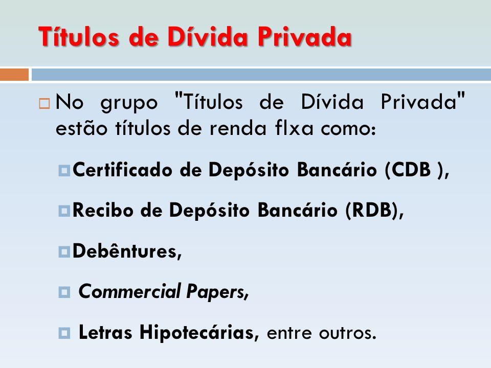 Títulos de Dívida Privada  No grupo