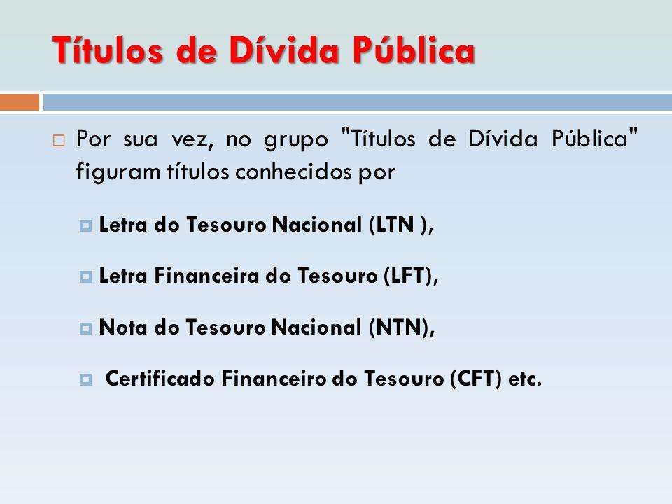 Títulos de Dívida Pública  Por sua vez, no grupo
