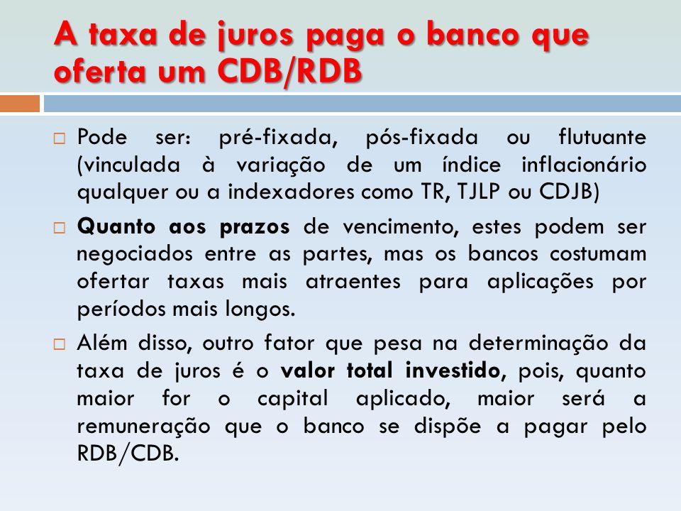 A taxa de juros paga o banco que oferta um CDB/RDB  Pode ser: pré-fixada, pós-fixada ou flutuante (vinculada à variação de um índice inflacionário qu