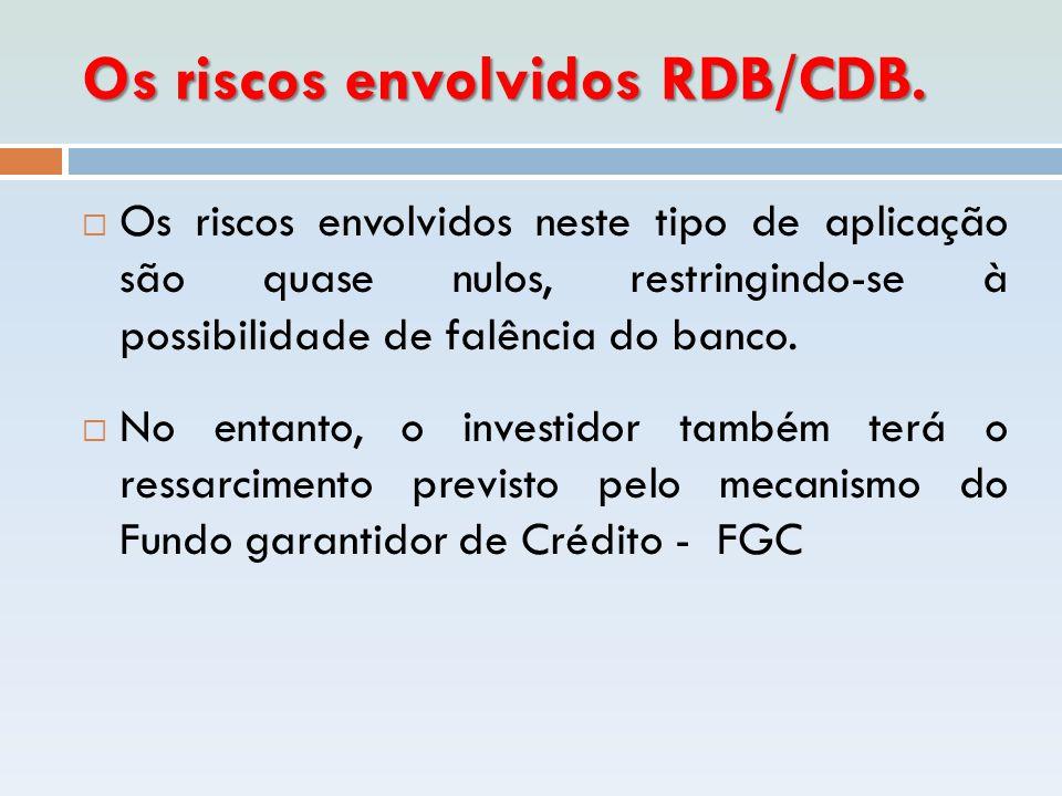 Os riscos envolvidos RDB/CDB.  Os riscos envolvidos neste tipo de aplicação são quase nulos, restringindo-se à possibilidade de falência do banco. 