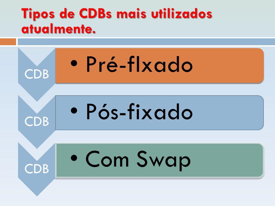 Tipos de CDBs mais utilizados atualmente. CDB • Pré-flxado CDB • Pós-fixado CDB • Com Swap