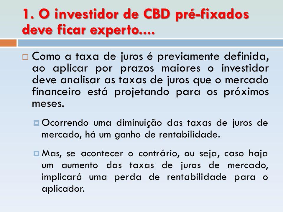 1. O investidor de CBD pré-fixados deve ficar experto....  Como a taxa de juros é previamente definida, ao aplicar por prazos maiores o investidor de