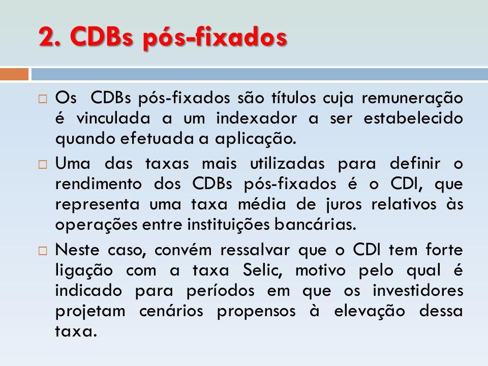 2. CDBs pós-fixados  Os CDBs pós-fixados são títulos cuja remuneração é vinculada a um indexador a ser estabelecido quando efetuada a aplicação.  Um