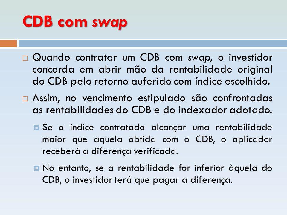 CDB com swap  Quando contratar um CDB com swap, o investidor concorda em abrir mão da rentabilidade original do CDB pelo retorno auferido com índice
