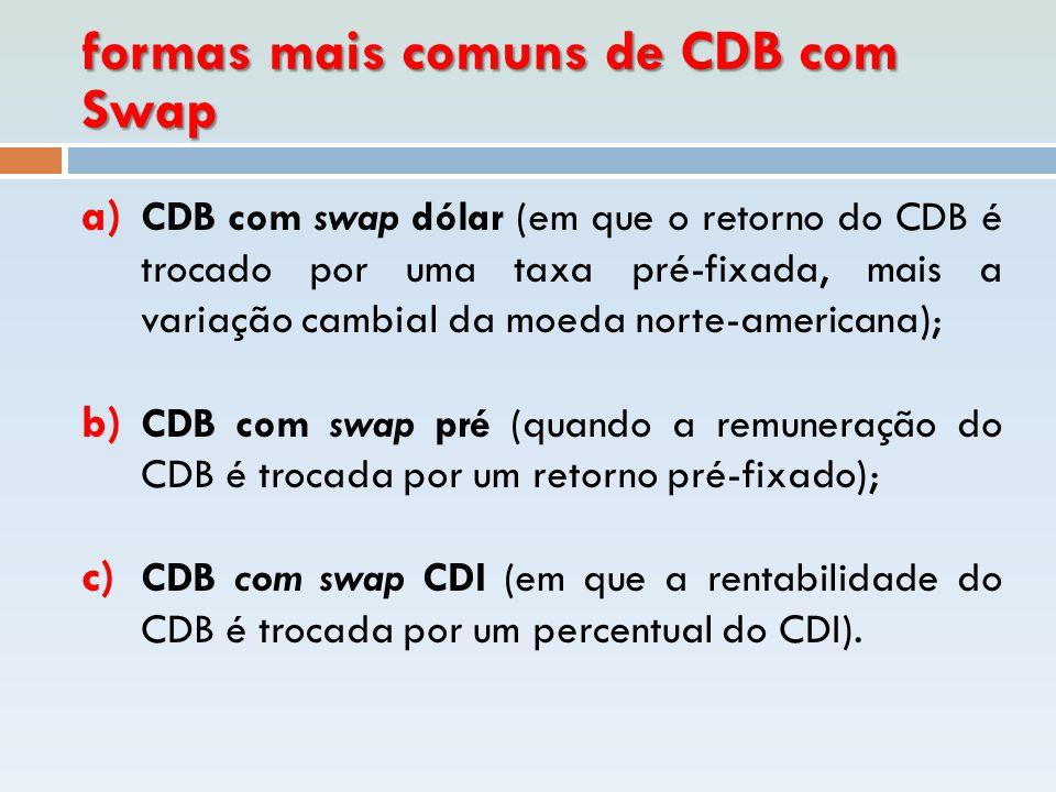 formas mais comuns de CDB com Swap a) CDB com swap dólar (em que o retorno do CDB é trocado por uma taxa pré-fixada, mais a variação cambial da moeda