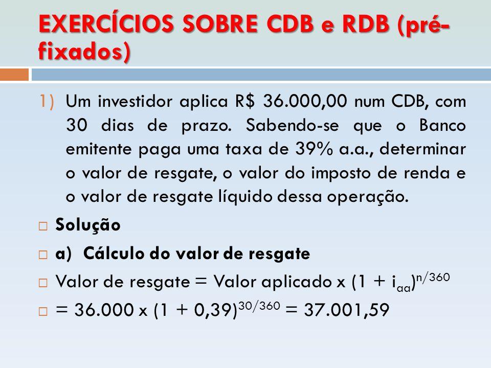 EXERCÍCIOS SOBRE CDB e RDB (pré- fixados) 1)Um investidor aplica R$ 36.000,00 num CDB, com 30 dias de prazo. Sabendo-se que o Banco emitente paga uma