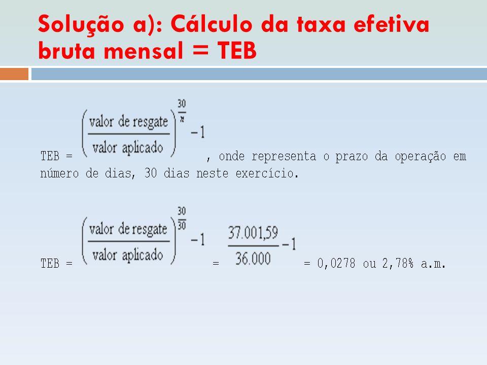 Solução a): Cálculo da taxa efetiva bruta mensal = TEB
