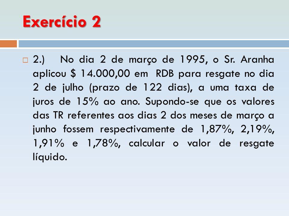 Exercício 2  2.) No dia 2 de março de 1995, o Sr. Aranha aplicou $ 14.000,00 em RDB para resgate no dia 2 de julho (prazo de 122 dias), a uma taxa de