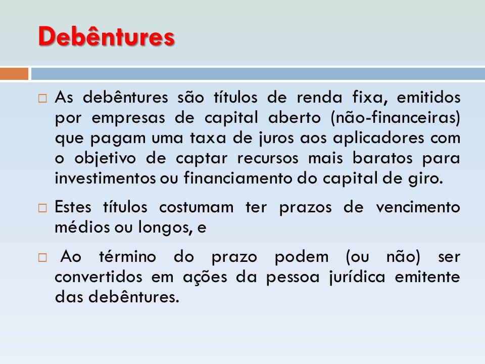 Debêntures  As debêntures são títulos de renda fixa, emitidos por empresas de capital aberto (não-financeiras) que pagam uma taxa de juros aos aplica