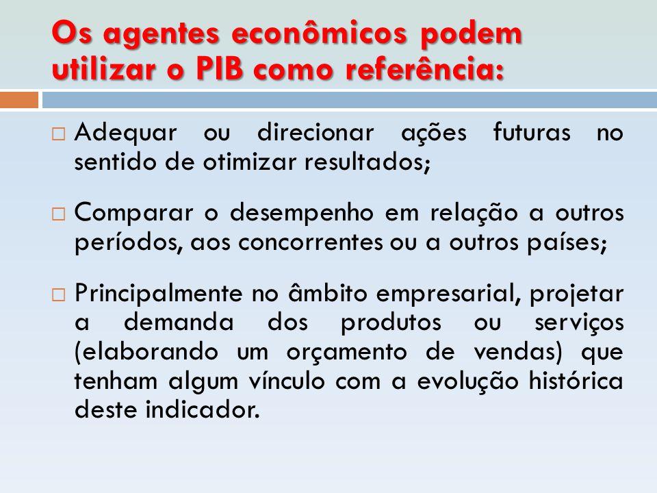 Os agentes econômicos podem utilizar o PIB como referência:  Adequar ou direcionar ações futuras no sentido de otimizar resultados;  Comparar o dese