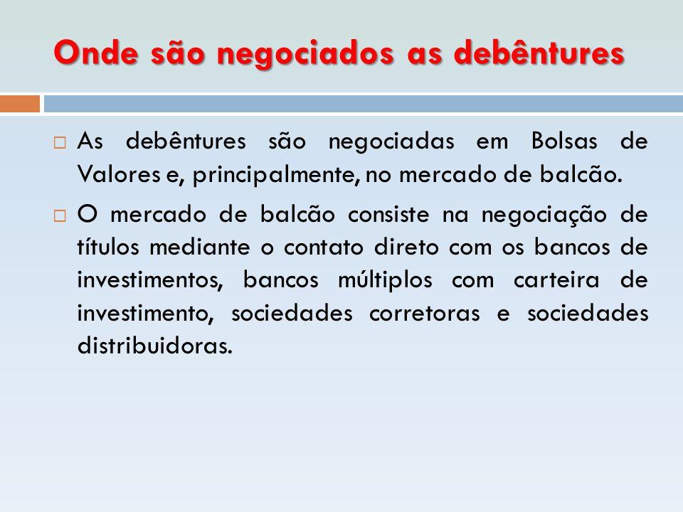 Onde são negociados as debêntures  As debêntures são negociadas em Bolsas de Valores e, principalmente, no mercado de balcão.  O mercado de balcão c