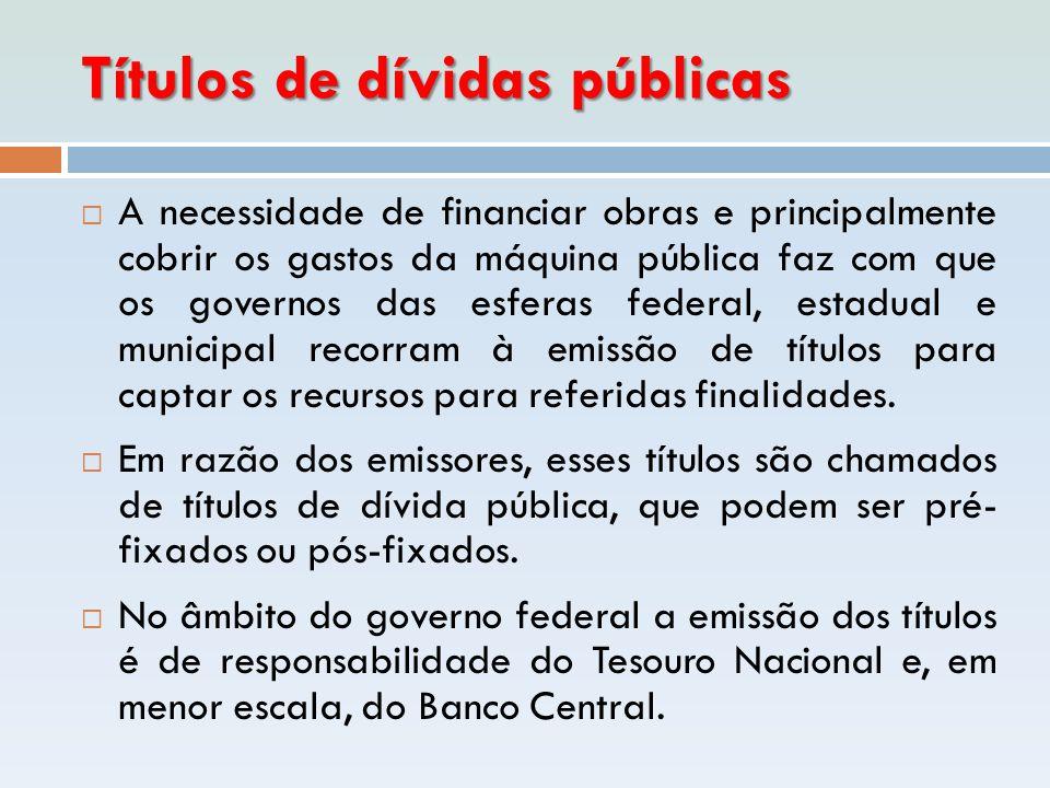 Títulos de dívidas públicas  A necessidade de financiar obras e principalmente cobrir os gastos da máquina pública faz com que os governos das esfera