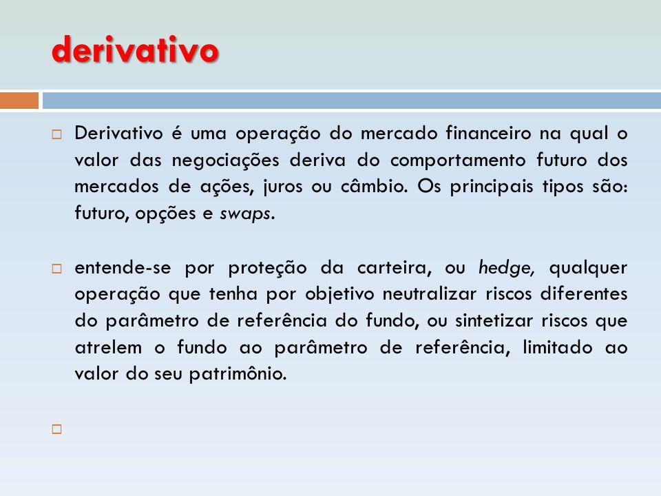 derivativo  Derivativo é uma operação do mercado financeiro na qual o valor das negociações deriva do comportamento futuro dos mercados de ações, jur