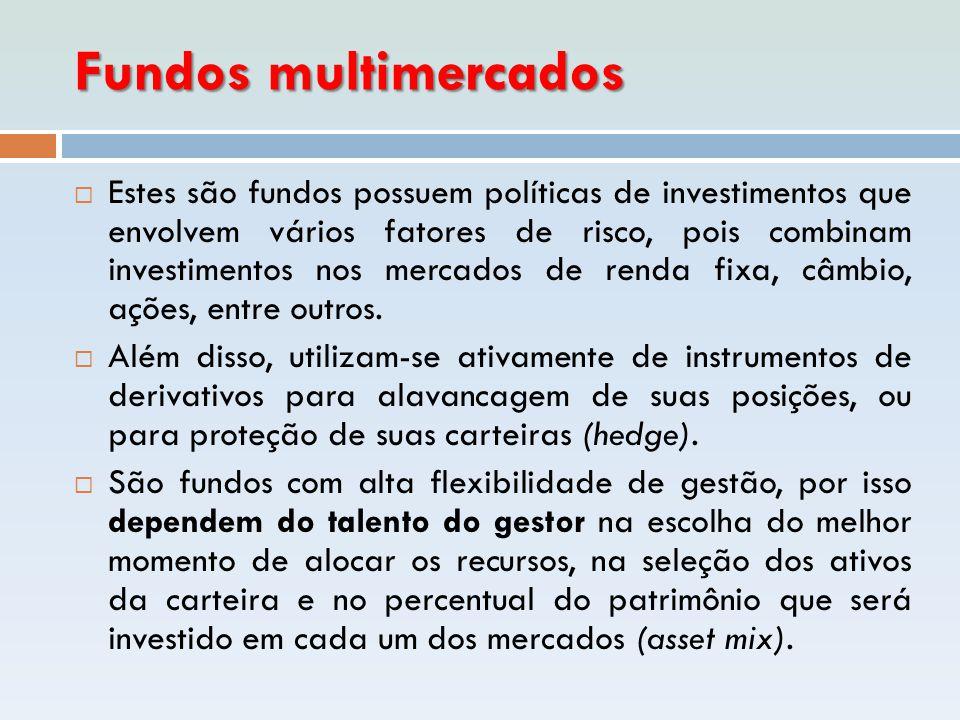 Fundos multimercados  Estes são fundos possuem políticas de investimentos que envolvem vários fatores de risco, pois combinam investimentos nos merca