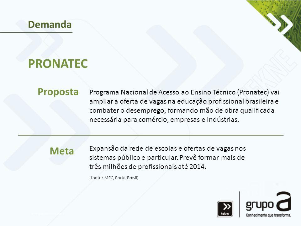 Programa Nacional de Acesso ao Ensino Técnico (Pronatec) vai ampliar a oferta de vagas na educação profissional brasileira e combater o desemprego, formando mão de obra qualificada necessária para comércio, empresas e indústrias.
