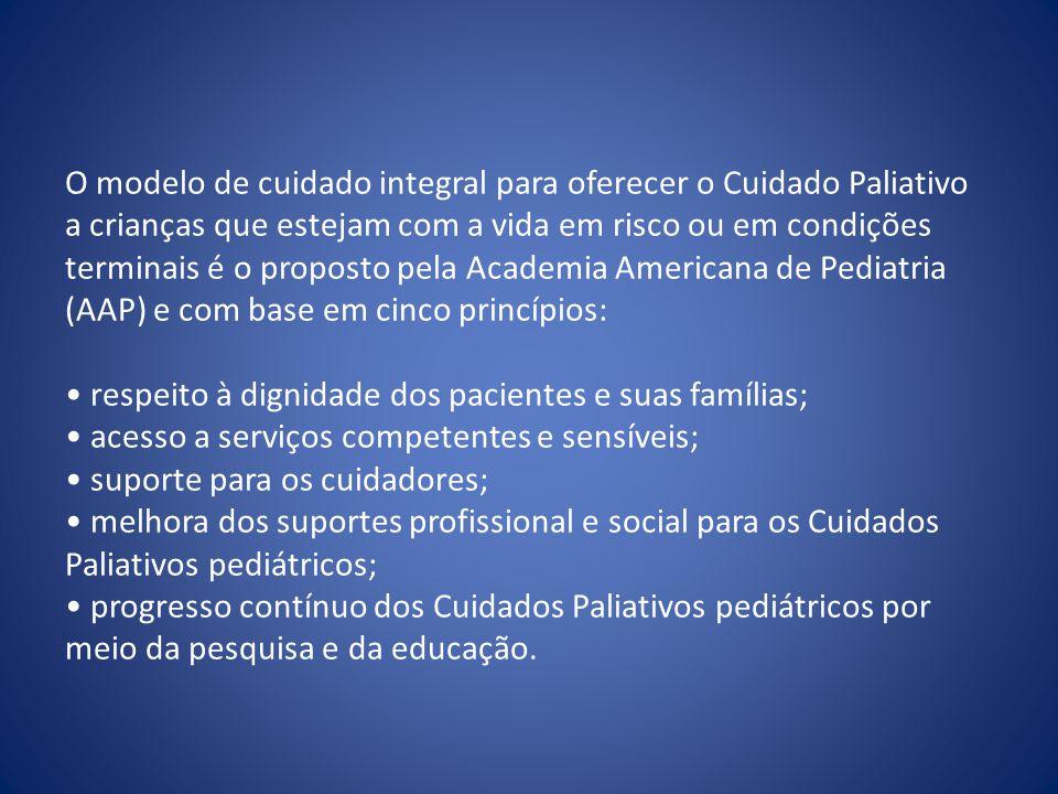 O modelo de cuidado integral para oferecer o Cuidado Paliativo a crianças que estejam com a vida em risco ou em condições terminais é o proposto pela