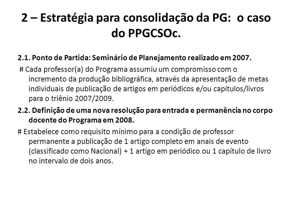 2 – Estratégia para consolidação da PG: o caso do PPGCSOc. 2.1. Ponto de Partida: Seminário de Planejamento realizado em 2007. # Cada professor(a) do