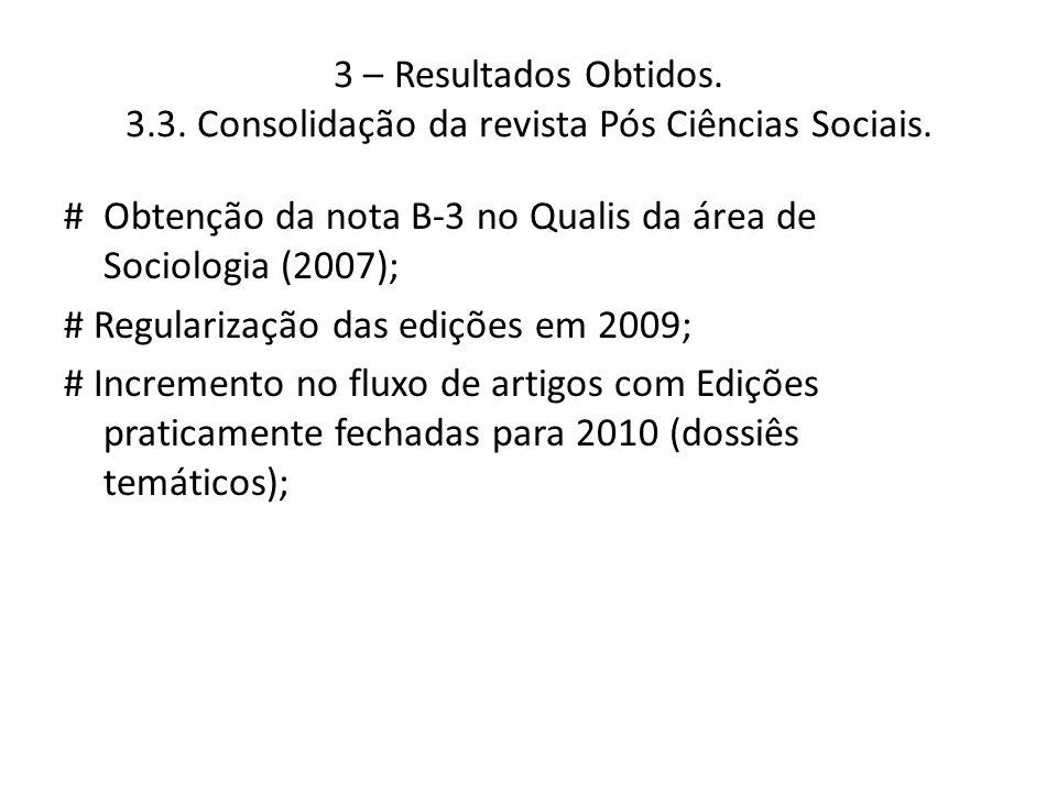 3 – Resultados Obtidos. 3.3. Consolidação da revista Pós Ciências Sociais. # Obtenção da nota B-3 no Qualis da área de Sociologia (2007); # Regulariza