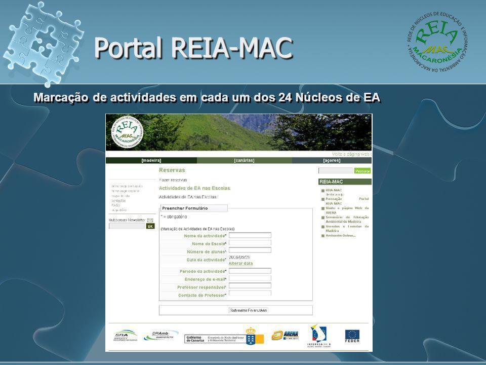 Portal REIA-MAC Marcação de actividades em cada um dos 24 Núcleos de EA