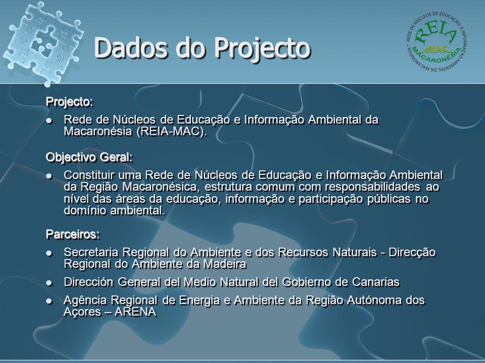 Dados do Projecto Projecto:  Rede de Núcleos de Educação e Informação Ambiental da Macaronésia (REIA-MAC). Objectivo Geral:  Constituir uma Rede de